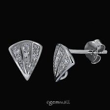 Fine Sterling Silver CZ Fan Triangle Stud Post Earring Hook Connector #97829