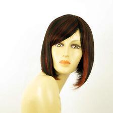 perruque femme 100% cheveux naturel carré méchée noir/rouge MYLENE 1b410