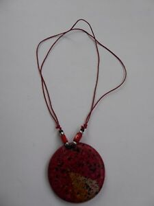 Tropicalia Handcrafted Necklace Pendant Circle Red Wood Sea Theme Boho Indie