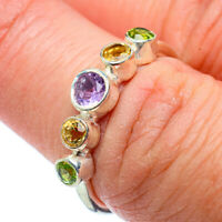Amethyst, Citrine, Peridot 925 Sterling Silver Ring Size 7 Jewelry R39081F