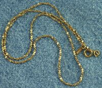 "Dainty 16"" Signed Monet Gold Tone Tinsel or Nugget Chain Necklace"