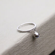 925  Sterling Silver Ball Charm Dangle Topaz Wrap Ring Adjustable Ball Crystal