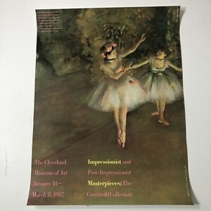 "VTG 1987 Cleveland Museum Of Art Exhibit Poster Impressionists 24""x18"" Degas Art"
