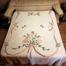 """Vtg Chenille Beadspread Throw Blanket Cotton Coral Flowers Ribbon & Bow 90""""x102"""""""