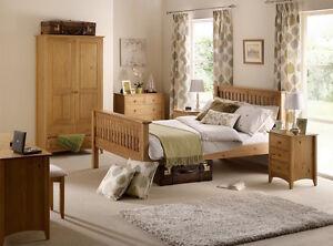 Solid Pine Bed Frame, High Foot End, Slatted Design 4ft6