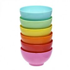 Set of 6 Cereal bowl Plastic 400ml Coloured Cereal Soup Noodle Mixing Bowl