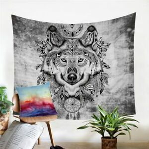 Wolf Tribal Dreamcatcher Wall Tapestry Hanging Throw Cover Home Room Decoration