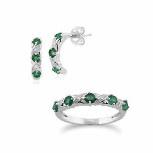 9ct White Gold Emerald and Diamond Half Hoop Earring and Eternity Ring Set