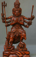 "7"" China Boxwood Wood Carved Stand 8 Arms Fudo Myo-o / Acalanatha Buddha Statue"