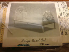 Dollhouse miniatures wood kit single heart bed string wrapped white wicker