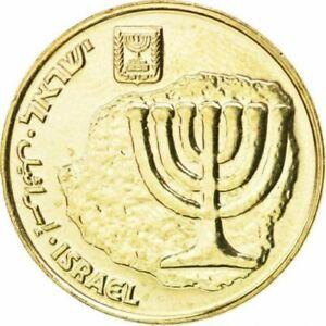 ISRAELI Hebrew GOLD color Coin Ten Agorot NEW SHEKEL Circulated Menorah HOLYLAND