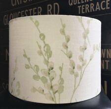 LAURA ASHLEY PUSSY WILLOW FABRIC NEW HANDMADE LAMPSHADE APPLE GREEN OFF WHITE