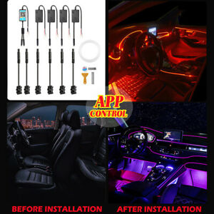 1in6 6M RGB LED Car Interior Lamp Ambient Light Strips App Control For Dodge