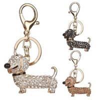 Dog Dachshund Stylish Crystal Key Chain Pom Gift Women Girl Bag Charm Pendant