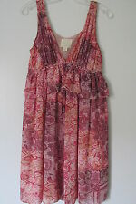 Voyage Mediterranee Collection Pink Floral Ruffle Lined Knee-Length  Dress SZ:S