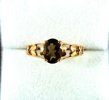 1.20ct Natural Smoky Topaz Solid 10k Rose Gold Solitaire Ring US (8) AU (Q)