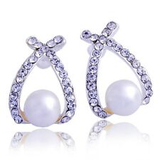 Trendy Women's Stud Earrings crystal White Pearl Silver Plated unique Earing