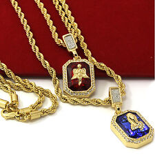 "Mens Gold Red Blue Ruby Bundle Set Cz Pendant Hip Hop 24"" & 30"" Rope Chain D465"