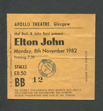 1982 Elton John Concert Ticket Stub Glasgow UK Jump Up Blue Eyes Empty Garden