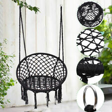 Black Macrame Hammock Chair Hanging Woven Cotton Rope Swing Outdoor Garden 120kg
