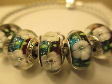 5 Pandora Silver 925 Ale White Dogwood Flowers Multi Colored Murano Beads Charms