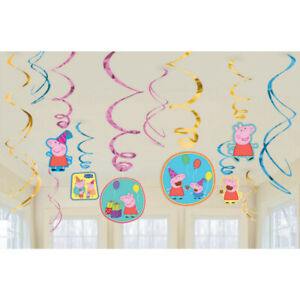 Peppa Pig Spiral/Swirl Hanging Decorations Pack of 12 - Peppa Pig Party Supplies