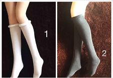 """[X2 1/6 Scale Socks ]White+Black High loaded tennis socks For 12"""" PH Female Body"""