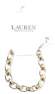 LAUREN RALPH LAUREN Cable Link Toggle Bracelet Silver & Gold LNB00148T980 >NEW<