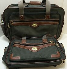 Ricardo Beverly Hills 2 Piece Luggage Set Small Carry On Green Stripes Nice