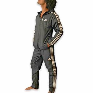 Rare Adidas Soccer Windbreaker Track Suit Jacket Trackies Black Jacket-M Pant-S