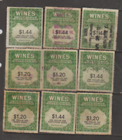 U.S.A. Revenue Wine Stamps 9 USED Series 1941 FREE USA SHIPPING