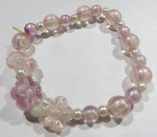 Bracelet enfant avec perles roses et argentées