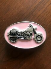 Pink Motorcycle Biker Girl Gang Motor Metal Women's Belt Buckle
