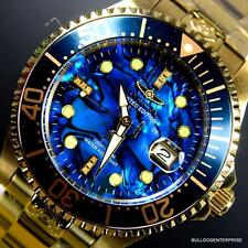 Mens Invicta Grand Diver Automatic Diamond Gold Plated Blue Abalone Watch New