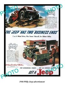OLD 8x6 HISTORIC PHOTO OF 1946 WILLYS JEEP ADVERTISMENT