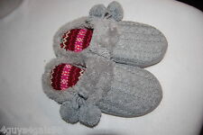 Womens GRAY CABLE KNIT OPEN BACK SLIPPERS w/ POM POM ACCENTS Dearfoams S 5-6