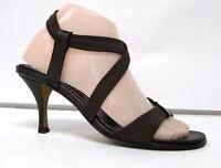Donald J. Pliner women's 7.5 M sandals shoes brown leather high heel slingback