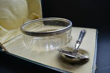 Vintage Large Cut Crystal and Silver Rim Serving Bowl,