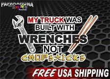 "8"" My Truck was Built with Wrenches Vinyl Graphic Racing Sticker Decal Ram GMC"