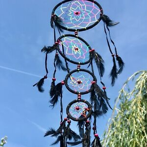 New Long Black Feather Neon Dream Catcher Native American Hanging Mobile