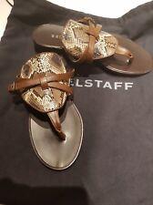 New Belstaff Somersal Snakeskin Python Brown Thong Flip Flop Sandals 36 UK 3