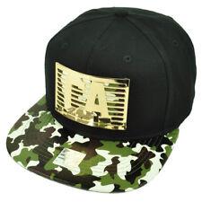 CA California Metal Emblem Gold State Camouflage Flat Bill Hat Cap Black Cali