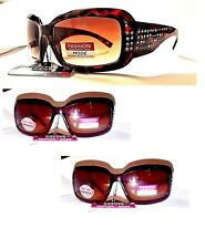 Womens Shine Foster Grant Sunglasses Brown Tortoise Gold and Rhinestones #004