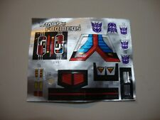 ASTROTRAIN DECAL STICKER SHEET G1 TRANSFORMERS 1985 Vintage