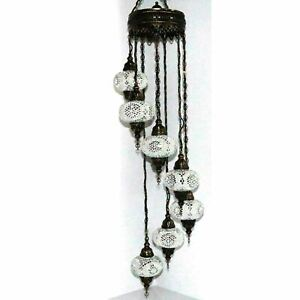 7 Large Globes - Turkish Moroccan Glass Mosaic Hanging Ceiling Chandelier Lamp