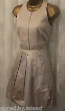 Karen Millen Glamour Pleated Skater Skirt Zip Front Nude Party Dress 12 40 £140