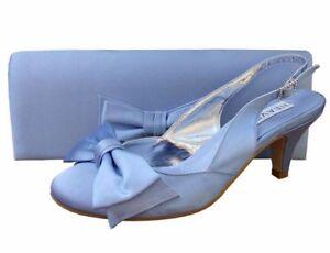 Ladies Wedding Party Low Heel Shoe Evening Shoes Diamante Pale Blue Satin NEW