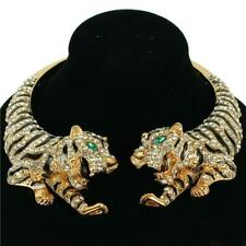 STATEMENT Gold  Black Green Animal Tiger Crystal Open Necklace By Rocks Boutique
