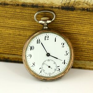Junghans J32 antique open face silver 0.800 pocket watch with enamel dial German