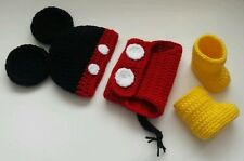 NEW Newborn Baby Boy Mickey Mouse Hat Diaper Cover Booties Crochet Photo Prop